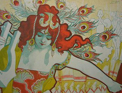 Original 1897 Lithograph Medusa Original by Louis Oury