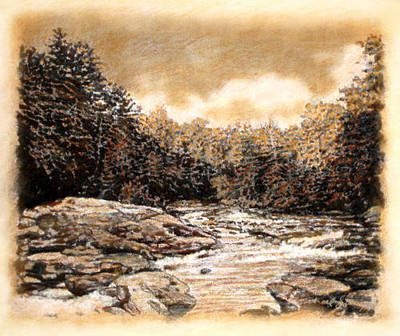 Drawing - Original Chattooga Boulders by Michael Story