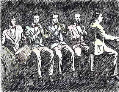 Trombone Drawing - Original Dixieland Jazz Band by Mel Thompson