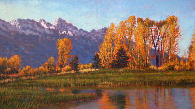 Painting - Original Field Of Aspens by Michael Story
