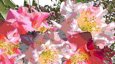 Art Print featuring the painting Original Fine Art Digital Camelias 1c by G Linsenmayer