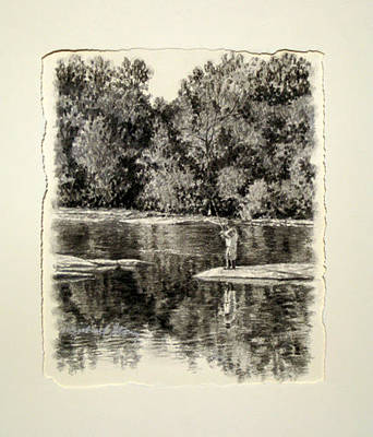 Drawing - Original Fishing The Saluda by Michael Story