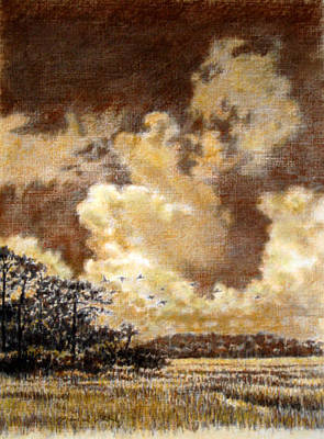 Painting - Original Flying Through The Clouds by Michael Story