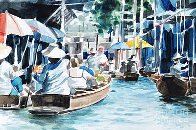 Original Hand Draw Floating Market Art Print by Theeravat Boonnuang
