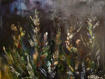 Original Large Abstract Impasto Wheat Field Lit By Moon - Modern Palette Knife Painting - Fine Art B Original