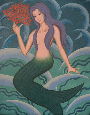 Original Mermaid Painting Original by Lana Cheng