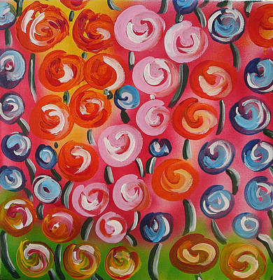 Original Modern Impasto Flowers Painting  Art Print by Gioia Albano