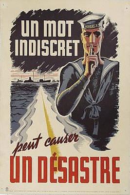 Original Wwii Canadian Poster Un Mot Indiscret Sm Original