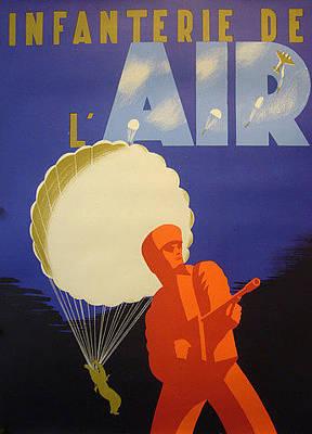 Original Wwii Poster Infantry Infanterie De L'air Wwii  Original