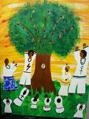 Of Yemaya Painting - Orisha Family Worship by Sula janet Evans