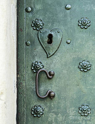 Print featuring the photograph Ornamental Metal Doors In Teal by Agnieszka Kubica