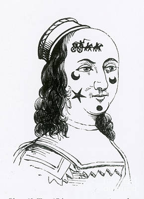 Ornamental Patches On Face, 17th Century Print by Photo Researchers