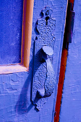Door Photograph - Ornate Blue Handle 2 by Marilyn Hunt