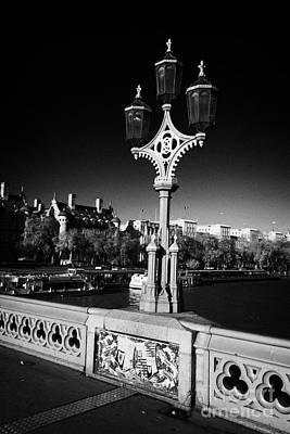Gas Lamp Photograph - ornate westminster bridge lamp and coat of arms London England UK United kingdom by Joe Fox