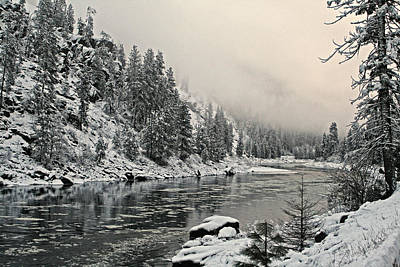 Orofino Snow Clearwater River Art Print