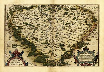 Ortelius's Map Of Bohemia, 1570 Art Print