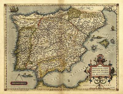 Ortelius's Map Of Iberian Peninsula, 1570 Art Print