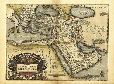 Ortelius's Map Of Ottoman Empire, 1570 Art Print