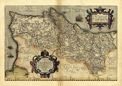 Ortelius's Map Of Portugal, 1570 Art Print
