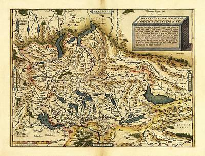 Ortelius's Map Of Switzerland, 1570 Print by Library Of Congress, Geography And Map Division
