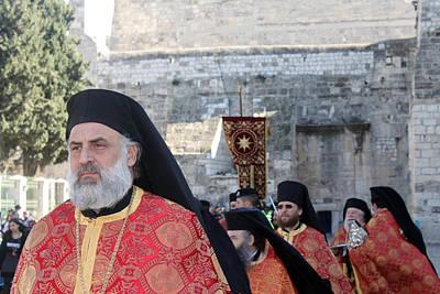 Orthodox Priests At Nativity Square In Bethlehem Original by Munir Alawi