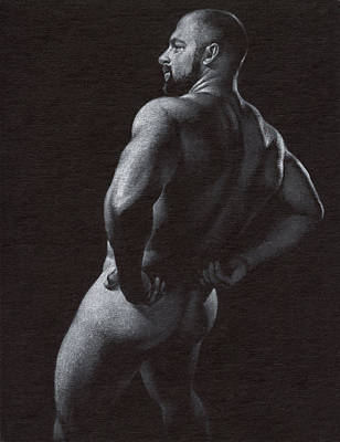 Male Nude Drawing Drawing - Oscuro 4 by Chris Lopez