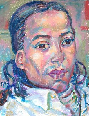 Pastel Painting - Osmel Arrate Garcia by Leonid Petrushin