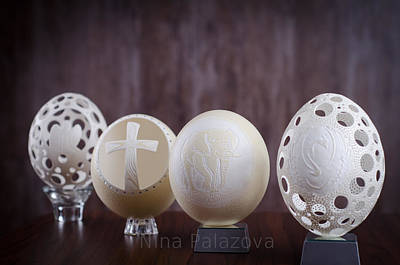 Ostrich Mixed Media - Ostrich Eggs by Nina  Palazova
