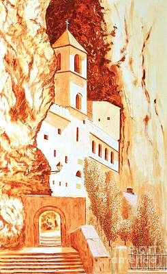 Painting - Ostrog Abbey. Montenegro. by Sasa Djerkovic