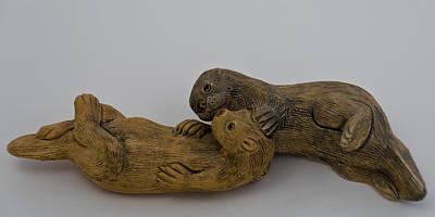 Otter Photograph - Otter Love by LeeAnn McLaneGoetz McLaneGoetzStudioLLCcom