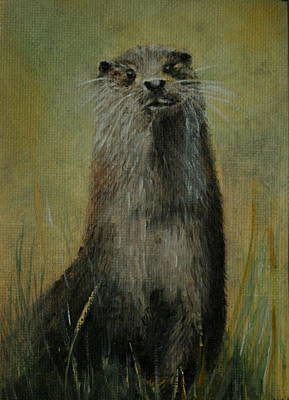 Painting - Otter  Miniature by Lynn Hughes