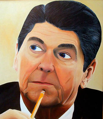Painting - Our Great 40th President by JoeRay Kelley