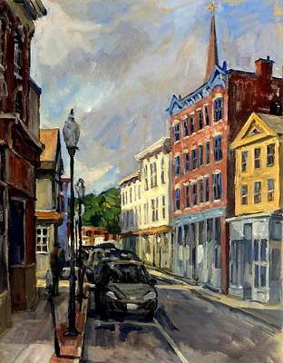 Abstract Realist Landscape Painting - Our Town North Adams by Thor Wickstrom