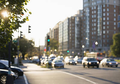 Traffic Congestion Photograph - Out Of Focus Street Scene In Washington by Roberto Westbrook