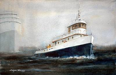 Great Lakes Ship Painting - Out Of The Fog by Charles Rowland