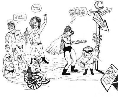 Super Hero Drawings Drawing - Out Of Work Super Heros by Michael Mooney