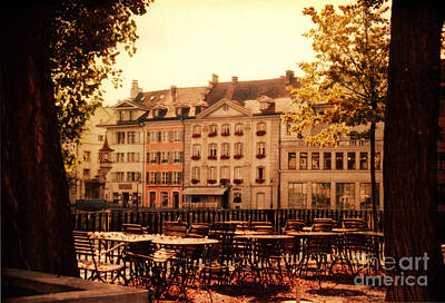 Outdoor Cafe In Lucerne Switzerland  Art Print