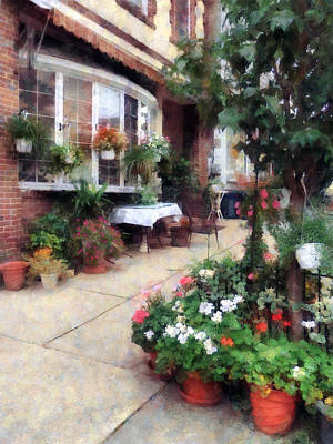 Flowerpots Photograph - Outdoor Cafe With Flowerpots by Susan Savad