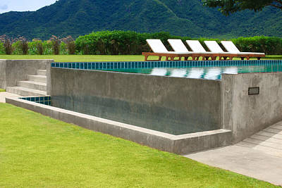 Poolside Photograph - Outdoor Swimming Pool by Atiketta Sangasaeng