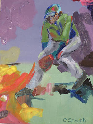 Outfielder Painting - Outfielder Catching Grounder by Charles Schuch