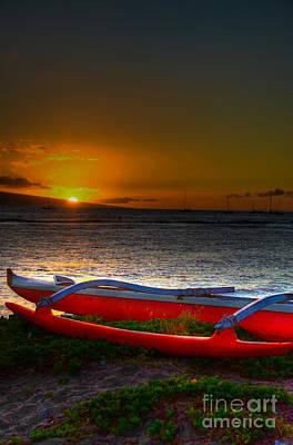 Kaanapali Beach Photograph - Outrigger At Sunset by Kelly Wade