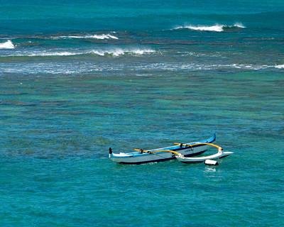 Canoe Digital Art - Outrigger Canoe In Coral Lagoon by David Rearwin