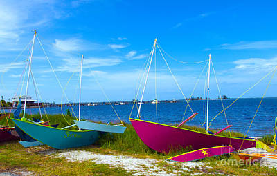 Aground Painting - Outriggers-2 by Allan  Hughes