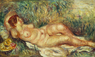 Red Female Nude Painting - Outstretched Nude by Pierre Auguste Renoir