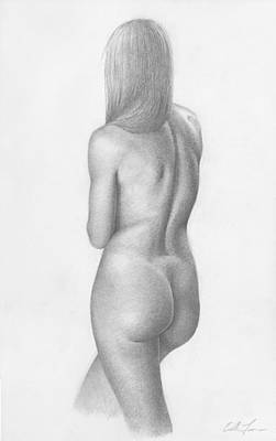 Female Drawings Drawing - Over Her Shoulder by Eddie Torres