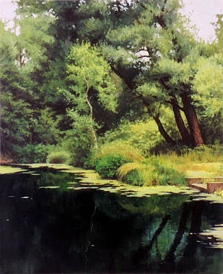 Painting - Overgrown Pond by Sergey Zhiboedov