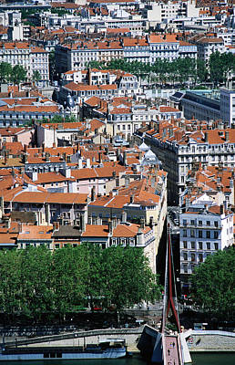 Overhead Of City, Lyon, Rhone-alpes, France, Europe Art Print by Glenn Van Der Knijff
