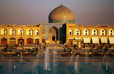 Overhead Of Fountains Outside Sheikh Lotfollah Mosque, Emam Khomeini Square, Esfahan, Iran Art Print by Mark Daffey
