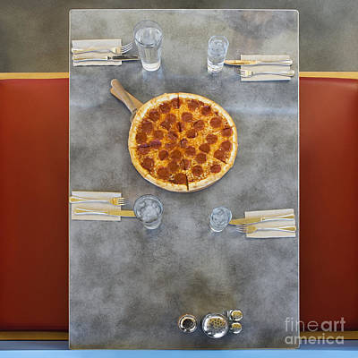 Overhead Of Table With Pizza Art Print by Andersen Ross