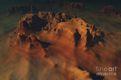 Mountainous Digital Art - Overhead View Of A Desert Mountain Worn by Corey Ford